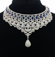 Amazon.com: Sapphire Diamond Stimulant Necklace Earring Set Gorgeous Showstopper Absolutely WOW!!!! Gorgeous, Breathtaking Look!!: Jewelry