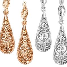 Gold Plated Water Drop Earrings. I would get the silver ones. I'm not a huge gold fan.