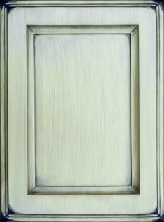 Salerno Flat Panel Door  Available Material: Standard Wood Species Color Shown: Custom Color with Black Dry Brush Sand Through Finish on Paint Grade Material Available in All Outside Profiles - Shown with Venice Outside Profile Face Framing, Dry Brushing, Custom Cabinetry, Panel Doors, Wood Species, Cabinet Doors, Color Show, Venice, Profile
