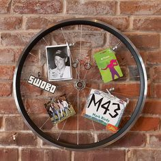 great for a teens room. bicycle wheel photo display on wall Teen Wall Decor, Teen Wall Art, Wall Shelf Decor, Bedroom Accessories, Decorative Accessories, Office Accessories, Bmx, Motocross, Bicycle Wheel