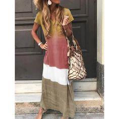 Casual Four-Color Gradient V-Neck Short-Sleeved Dress