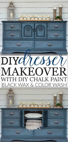 DIY Dresser Makeover with diy chalk paint, a color wash, black wax and diy shelves. This old dresser was in desperate need of some tlc and that's exactly what I gave it. makeover diy dresser DIY Blue Dresser Makeover w/ Black Wax & Color Wash Diy Furniture Renovation, Diy Furniture Projects, Refurbished Furniture, Furniture Makeover, Diy Furniture Painting, Wooden Furniture, Diy Blue Furniture, Furniture Plans, Chalk Painted Furniture