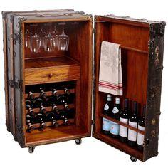 DIY Locker - 2018 Steamer Trunk Bar Cabinet - Remodeling Ideas for Kitchens Check more at www. Trunk Furniture, Repurposed Furniture, Home Decor Furniture, Furniture Makeover, Old Trunks, Vintage Trunks, Trunks And Chests, Wine Bar Cabinet, Wine Cabinets