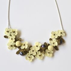 JJ Caprices - Elaborate Hand Crocheted Flower and Pearl Necklace - Ivory