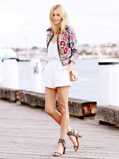 10 Stellar Outfit Ideas To Inspire Your Weekend via @WhoWhatWear I ASOS statement cropped floral jacket, white cami and shorts, Isabel Marant sandals