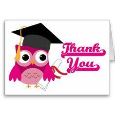 Hot Pink Owl with Graduation Cap Thank You Card