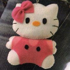 Chaveiro de feltro Hello Kitty com moldes