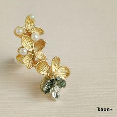 flower motif イヤーカフ K14gfピアス or イヤリング