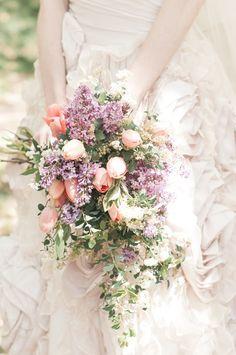 Light pink tulip and lavender bridal bouquet via Burnett's Boards