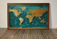 Laser cut wooden world map,undersea world wooden world map, plywood map. 3D wood map. Объемная карта глубин всего мира не оставит равнодушным никого!