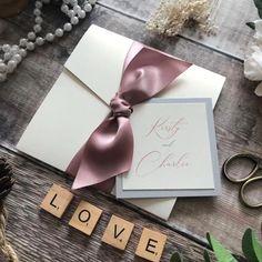 Bespoke Wedding Invitations, Wedding Invitation Wording, Invitation Design, Handmade Wedding Favours, Wedding Favors, Personalized Invitations, Ribbon Colors, Handmade Design, Colour Schemes