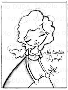 Okay Beautiful Girl Digital Stamp Printable Art to Color