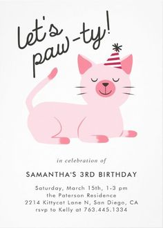 Cute birthday party invitation for your child's cat theme party. Illustration of a pink cat with a smile on her face wearing a party hat. The text above says Cat Birthday, 2nd Birthday Parties, Birthday Bunting, Free Birthday, Birthday Crafts, Birthday Invitations Kids, Happy Birthday Cards, Birthday Wishes, Cat Themed Parties