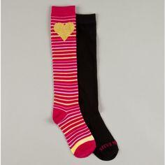 Girls Heart Stripe 2 Pack Fashion Knee Socks $3.50