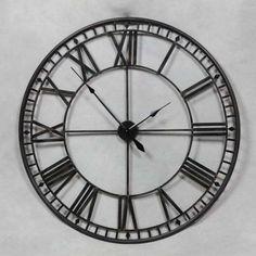 Stunning Extra Large 80cm Black Metal Wall Clock Black Skeleton Wall Clock