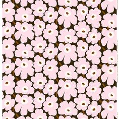 Marimekko's Mini Unikko fabric features the iconic floral pattern by Maija Isola in delicate shades of dark green, light pink and brown. The fabric is made of cotton which has been printed in Helsinki, Finland. Marimekko Wallpaper, Marimekko Fabric, Textiles, Textures Patterns, Print Patterns, Fabric Design, Pattern Design, Motif Vintage, Nordic Design