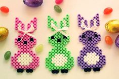 Easter bunnies nabbi beads - DIY Sweden Easter Crafts, Crafts For Kids, Perler Bead Templates, Iron Beads, Beaded Cross Stitch, Poinsettia, Bead Crafts, Perler Beads, Craft Gifts