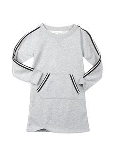 We love this sweatshirt dress, and with a hint of sparkle this sweater gets even better. Pair it with leggings for warmth and great style! #pumpkinpatchkids #sweatshirtdress #grey #stripes