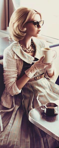Elegance..soft colors, pleated dress and cardigan, gloves...very feminine.  #gloves