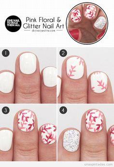 Tutorial para aprender a hacer un diseño de uñas floral en rosa y purpurina