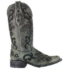 Corral Women's Crater Inlay and Studs Square Toe Western Boots