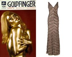 Bond Girl Style - Bond girl Shirley Eaton as Jill Masterson in Goldfinger. Get the look with the gold sequin Belgravia Dress. The perfect Bond girl dress