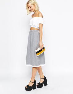The Laden Showroom X Even Vintage Stripe Dobby Cotton Reversible Midi Skirt