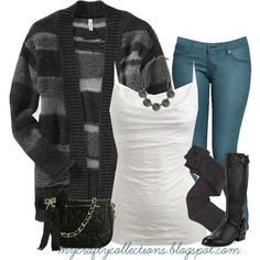 """""""Women's Outfit - Cardigan, jeans, & boots"""" by angiejane on Polyvore"""