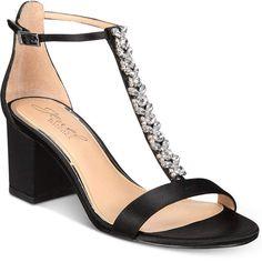 Jewel Badgley Mischka Lindsey Block-Heel Evening Sandals Women's Shoes #affiliatelink