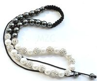 50% Discount!10mm White pearl ONW micro pave CZ Disco Beads Crystal Shamballa Necklace hotsale  fasion Wholesale Gift .