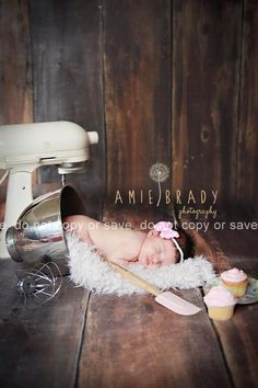 Newborn, chef, cupcakes, kitchen aid, photo shoot