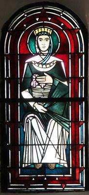 Glasmalerei St. Elisabeth von Thüringen. Wilhelm Schmitz-Steinkrüger, vor 1953 Fenster im Chor, Antikglas/Blei/Schwarzlot