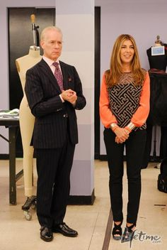 Tim Gunn and Nina Garcia in the workroom. Top by Preen.
