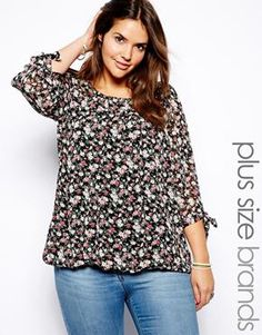 Image 1 of New Look Inspire Floral Print Bow Sleeve Blouse