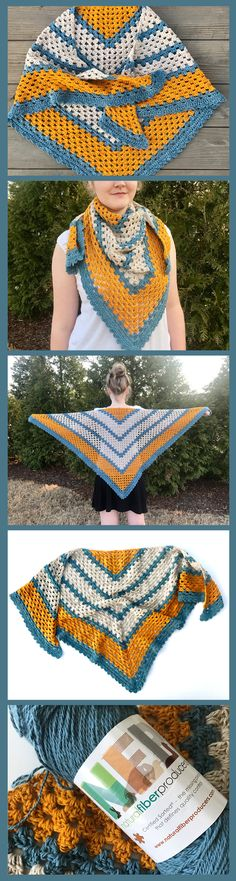 A beautiful triangle shawl crochet pattern - a perfect shawl to wear on a sunny spring day! Crochet pattern shawl.