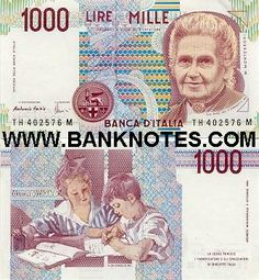 italy currency | Italy 1000 Lire 1990 - Italian Currency Bank Notes, Paper Money, World ...
