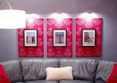 Paint or staple fabric to canvas, then attach a framed picture.