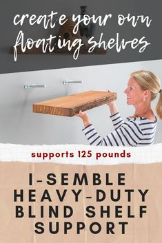 I-Semble Heavy-Duty Blind Shelf Supports - Gain practical storage space while maintaining a clean, modern look. Once installed, these concealed shelf supports are completely hidden from view, creating the illusion of a floating shelf. Used Woodworking Machinery, Woodworking Shows, Rockler Woodworking, Woodworking Projects That Sell, Woodworking Classes, Blind Shelf Supports, Wood Working For Beginners, Blinds, Illusion