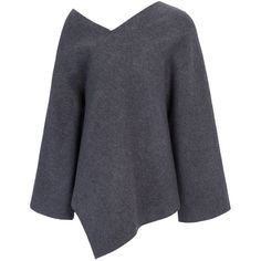 Joseph Boiled Wool Jersey Ted Short Top in CHARCOAL ($635) ❤ liked on Polyvore featuring tops, charcoal, short tops, v-neck tops, off shoulder top, asymmetrical top and kimono sleeve top