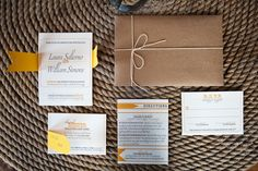 Love these stylish yellow and grey wedding invitations.  Photo by Rima Campbell