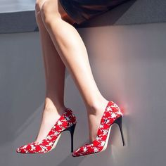 f12aba58aa Tweed is the White Jean of red tweed flannel stilettos.