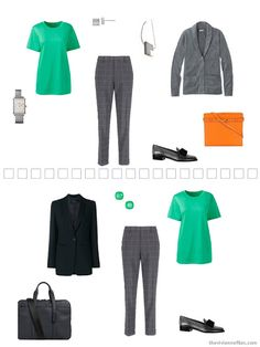 2 ways to wear a green tee shirt in a Tote Bag Travel capsule wardrobe