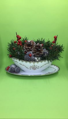Winter Centerpiece, Fall Pinecone Arrangement, Holiday Centerpiece, Pinecone Decor, Winter Berry Floral Arrangement, Holiday Tabletop Decor by SantasSecretShop on Etsy Christmas Baskets, Christmas Tea, All Things Christmas, Christmas Ornament, Topiary Centerpieces, Winter Centerpieces, Pine Cone Decorations, Halloween Decorations, Floating Tea Cup