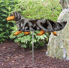 Dachshund Long Hair Outdoor Garden Dog Sign Hand Painted Figure Blue Dapple