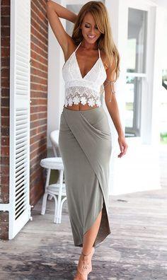 Stylish Lady Women's Casual Sexy Irregular V-neck Straps Lace Tops And Asymmetric Hem Skirt Set