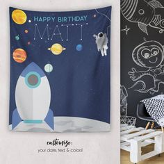 This item is unavailable Happy Birthday, Birthday Parties, Birthday Ideas, Space Party, Travel Maps, Text Color, Custom Art, Astronaut, Outer Space