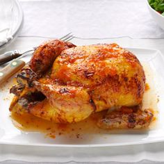 Glazed Roast Chicken Recipe -A few pantry items inspired this recipe, which I've since made for small weeknight meals or for big parties. The quince jelly comes from my boss, who grows the fruit in his own backyard. —Victoria Miller, San Ramon, California