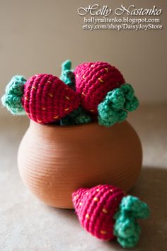 Crochet strawberry play food Handmade Amigurumi Waldorf Easter basket eco-friendly toys
