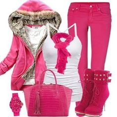 Winter pink outfit