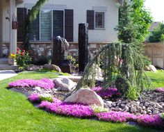 Low Maintenance Front Yard Landscaping | and Residential Landscaping and design, Water features, yard low ...